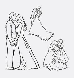 wedding romantic couple sketches vector image