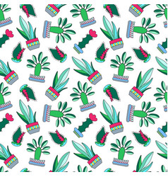 cactus doodle on white vector image vector image
