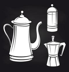 coffee pot stickers on blackboard background vector image
