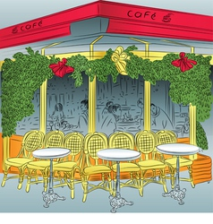 sketch of the Parisian cafe vector image vector image