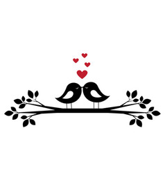 cute birds kiss and red hearts vector image vector image