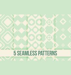 five seamless geometric patterns vector image