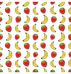 Fruits Seamless Background with Funny Strawberries vector image vector image