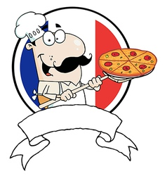 Male Chef Holding Up A Pizza Over A Blank Banner vector image vector image