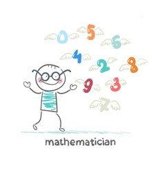 mathematician stands next to the flying figures vector image vector image