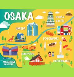 Osaka map with colorful landmarks japan design vector