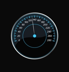 Speedometer on a black background Blue scale vector image