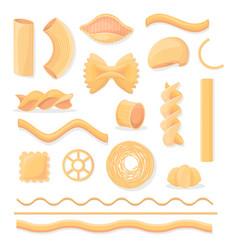 Various italian paste isolated set vector