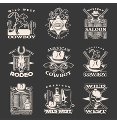 Wild West Emblem Set On Dark vector image vector image