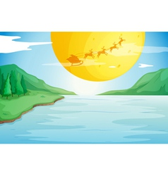 a river and a moon vector image vector image