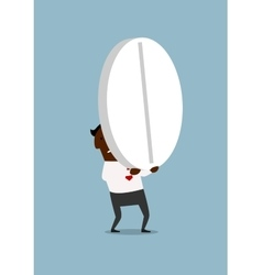 Black businessman carrying a huge pill vector image vector image