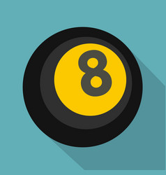 black snooker eight pool icon flat style vector image