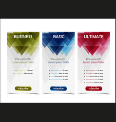 pricing table banner vector image