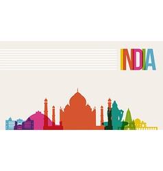 Travel India destination landmarks skyline vector image vector image