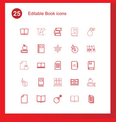 25 book icons vector