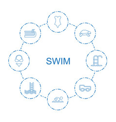 8 swim icons vector