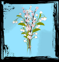 abstract blue and bouquet of flowers vector image