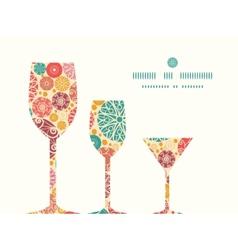 Abstract decorative circles three wine glasses vector