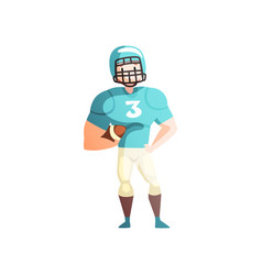 American football player male sportsman character vector