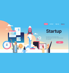 arabic business people launching new startup vector image