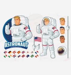 Astronaut mascot design set with optional features vector