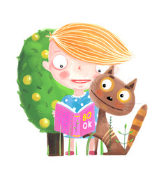 Baby girl reading to cat vector
