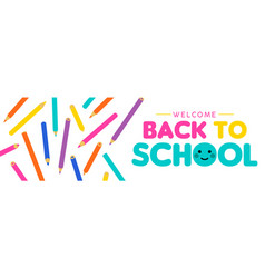 Back to school children color pencil web banner vector