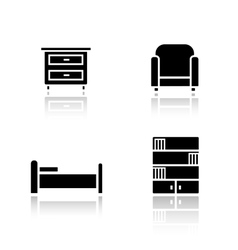 Bedroom furniture drop shadow icons set vector image