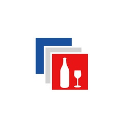 Beverage logo in French flag colors vector image