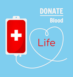 Blood donation bag on blue background vector