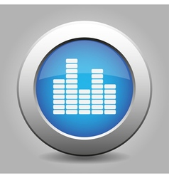 Blue metal button with equalizer vector