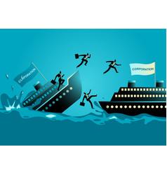 Businessmen abandon sinking ship vector