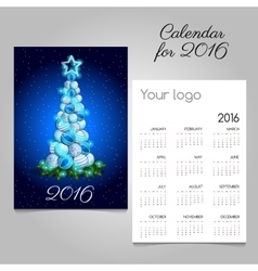 Calendar 2016 with modern christmas tree vector