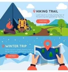 Camping Colored Banner Set vector image