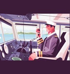 Captains cabin on ship vector