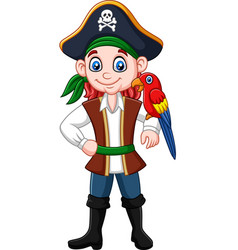 cartoon captain pirate with macaw bird vector image
