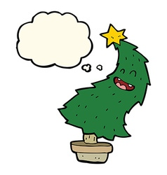 Cartoon dancing christmas tree with thought bubble vector