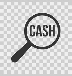 cash word magnifying glass vector image