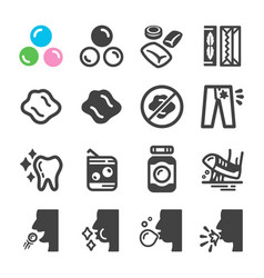 Chewing gum icon set vector