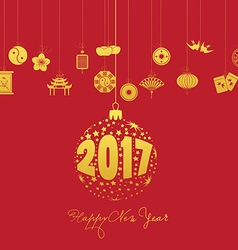 Chinese new year 2017 with christmas ball vector