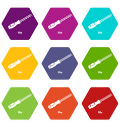 chisel icons set 9 vector image