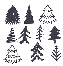 Christmas tree hand drawn vector