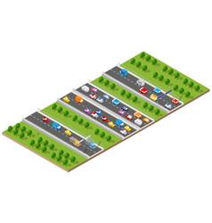 City boulevard isometric avenue transport car vector