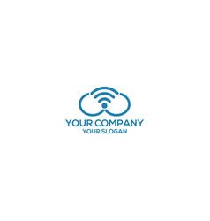 cloud wireless logo design template vector image