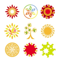 Collection of logos in the form of the sun vector