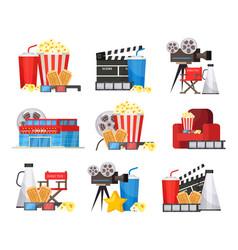 Colorful cinema elements set vector