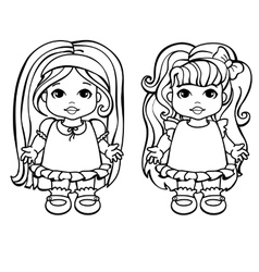 Colouring Page Of Two Baby Girls vector