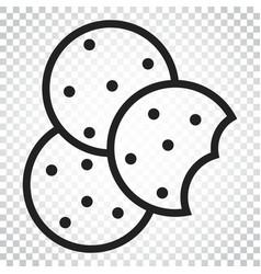 cookie flat icon chip biscuit dessert food vector image