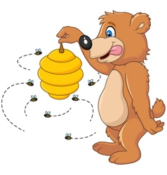 Cute bear holding Bee hive vector