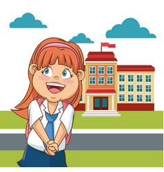 Cute girl student school building facade cloud vector